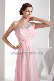Light Pink Bridesmaid Dress Pink Chiffon One Shoulder Bridesmaid Dresses Prom Gown