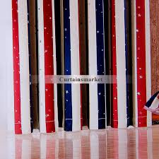 Blue And Red Striped Curtains And Blue Striped Curtains With Star Patterns For Kids