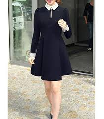 Long Sleeve Black Fit And Flare Dress Fit And Flare Dress Black With White Long Fitted Sleeves