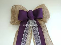 eggplant ribbon rustic purple burlap lace wedding bow eggplant purple burlap lace