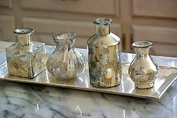 Vase Sets Antiqued Brass Tray U0026amp Etched Mercury Small Vase Set