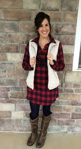 buffalo plaid dress with a cream vest add a statement necklace
