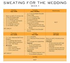 what to plan for a wedding sweating for the wedding 6 week workout plan