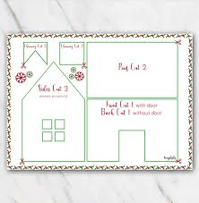 printable model house template printable gingerbread house template in red and green temploola com