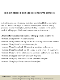 Accounts Payable Specialist Resume Sample Top8medicalbillingspecialistresumesamples 150402095344 Conversion Gate01 Thumbnail 4 Jpg Cb U003d1427986469