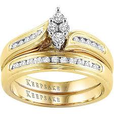 yellow gold bridal sets keepsake embrace 1 4 carat t w certified diamond 10kt