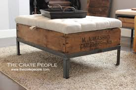 Wood Ottoman Tufted Lift Top Ottoman Vintage European Grain Sack The Crate