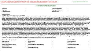document management specialist employment contract