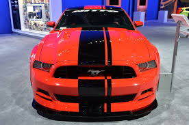 Red Mustang With Black Stripes Sema 2013 Nitto Tire 2014 Ford Mustang Mustangs Daily
