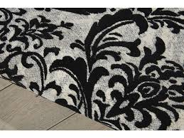 Damask Area Rug Black And White Floor Coverings Nourison Damask Black White Area Rug Das02 Black