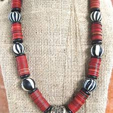 large red bead necklace images Best vintage black glass bead necklace products on wanelo jpg