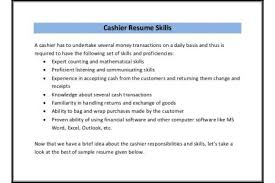 cashier resume responsibilities cashier sample resume for skills reentrycorps