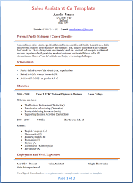 resume sles in word format sales assistant cv template tips and cv plaza