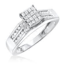 women s engagement rings 1 carat diamond trio wedding ring set 14k white gold