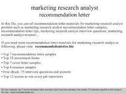 cover letter in marketing research