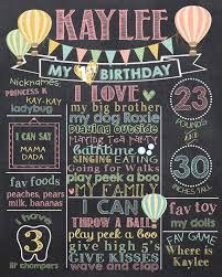 birthday chalkboard hot air balloon birthday chalkboard poster balloon