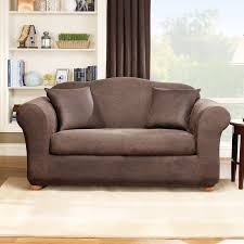 Leather Slipcovers For Sofa Sure Fit Stretch Leather Box Cushion Loveseat Slipcover Reviews