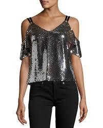 nanette lepore cold shoulder sparkle sequin top