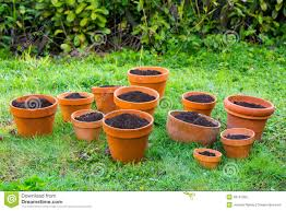 terra cotta garden pots with soil stock photo image 39791962