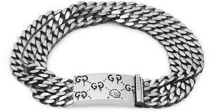 multi chain silver bracelet images Lyst gucci ghost multi chain bracelet in silver in metallic jpeg