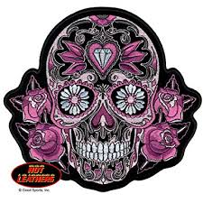 amazon com leathers 4 x 4 pink sugar skull with roses