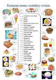 restaurant menu vocabulary revision
