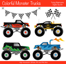 monster jam truck party supplies digital clipart colorful monster trucks for scrapbooking