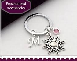 personalized birthstone keychains summer keychain etsy