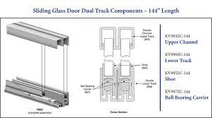 sliding glass cabinet door track knape kv995zc 144 sliding glass door dual track component shoe
