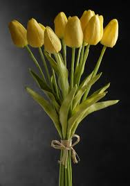 tulip bouquets real touch silk flower mini yellow tulips bouquet 15