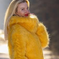 yellow sweater dress sweaters supertanya custom made fuzzy yellow mohair sweater