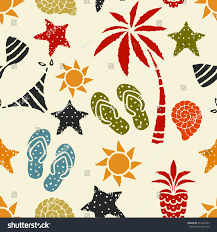 seamless pattern sun palm tree pineapple stock vector 291649223