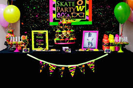 Glow In The Dark Party Decorations Ideas Kara U0027s Party Ideas Neon 80 U0027s Skate Themed Birthday Party Via