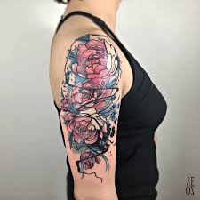 sketch style roses half sleeve watercolor these sunning