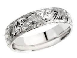 white gold vintage wedding bands 14k white gold vintage style 6 0mm engraved wedding band