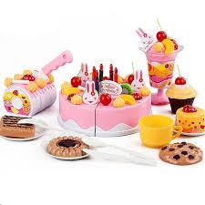 jeux de cuisine de gateau 75 pcs lot enfants cuisine jouets d anniversaire gâteau coupé jouets