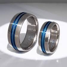 titanium wedding rings matching blue titanium ring set stb16 titanium rings studio