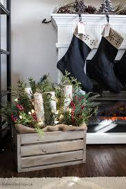 homedepot kitchen design christmas lights diy wooden crate with logs greenery and lights wooden crates