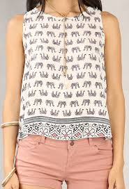 elephant blouse zippered elephant print top shop and now at papaya clothing