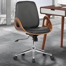 wood desk chair with wheels mid century office chair wayfair