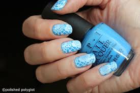 nail art bright blue and lace stamping polished polyglot