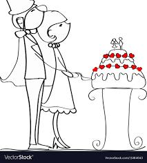 wedding cake drawing cutting wedding cake drawing vector image
