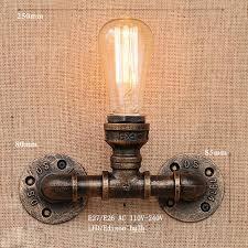 art deco loft industrial iron rust water pipe retro wall lamp