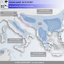 Map Of Bora Bora Excessive Snowfall Across Parts Of The Balkans And Apennines