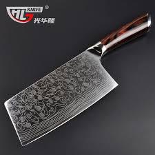 couteau de cuisine chinois haute qualité laser damas motif cuisine couteau importés poignée