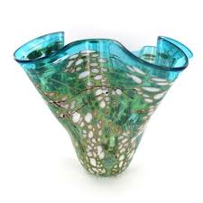 Handkerchief Vase Aqua White Handkerchief Vase By Paul Bendzunas Art Glass Vases
