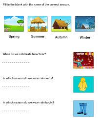 worksheet to learn seasons learning worksheets for kindergarten