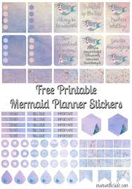 free mermaid printable planner stickers organized