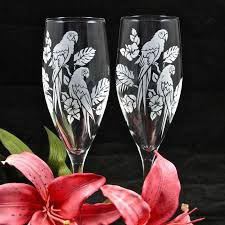 wedding gift glasses 2 tropical macaw toasting flutes personalized wedding glasses