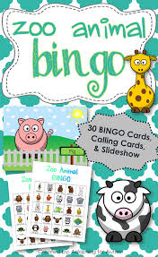 Free Printable Halloween Bingo Cards With Pictures Zoo Animal Bingo Includes 30 Unique Bingo Cards 1 2 Page